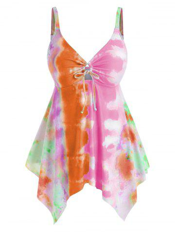 Plus Size Handkerchief Cinched Tie Dye Tankini Swimwear - ORANGE - 2X