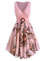 Floral Print O Ring Sleeveless Plunging Dress -