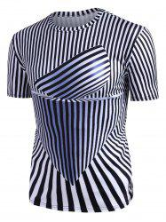 Abstract Striped Graphic Crew Neck Short Sleeve T Shirt -