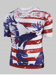 Eagle American Flag Graphic Slim Fit Casual T Shirt -