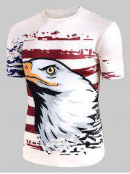 Eagle American Flag Graphic Crew Neck Casual T Shirt -