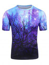 Starry Forest Print Short Sleeve Casual T Shirt -