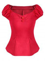 Ruched Button Embellished Cap Sleeve Blouse -