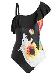 Plus Size Wolf Splatter Paint Skew Neck One-piece Swimwear -