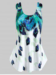 Plus Size Feather Print Tent Tank Top -