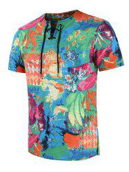 Embroidered Design Painting Print T-shirt -