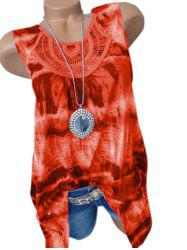 Plus Size Tie Dye Lace Crochet Tank Top -