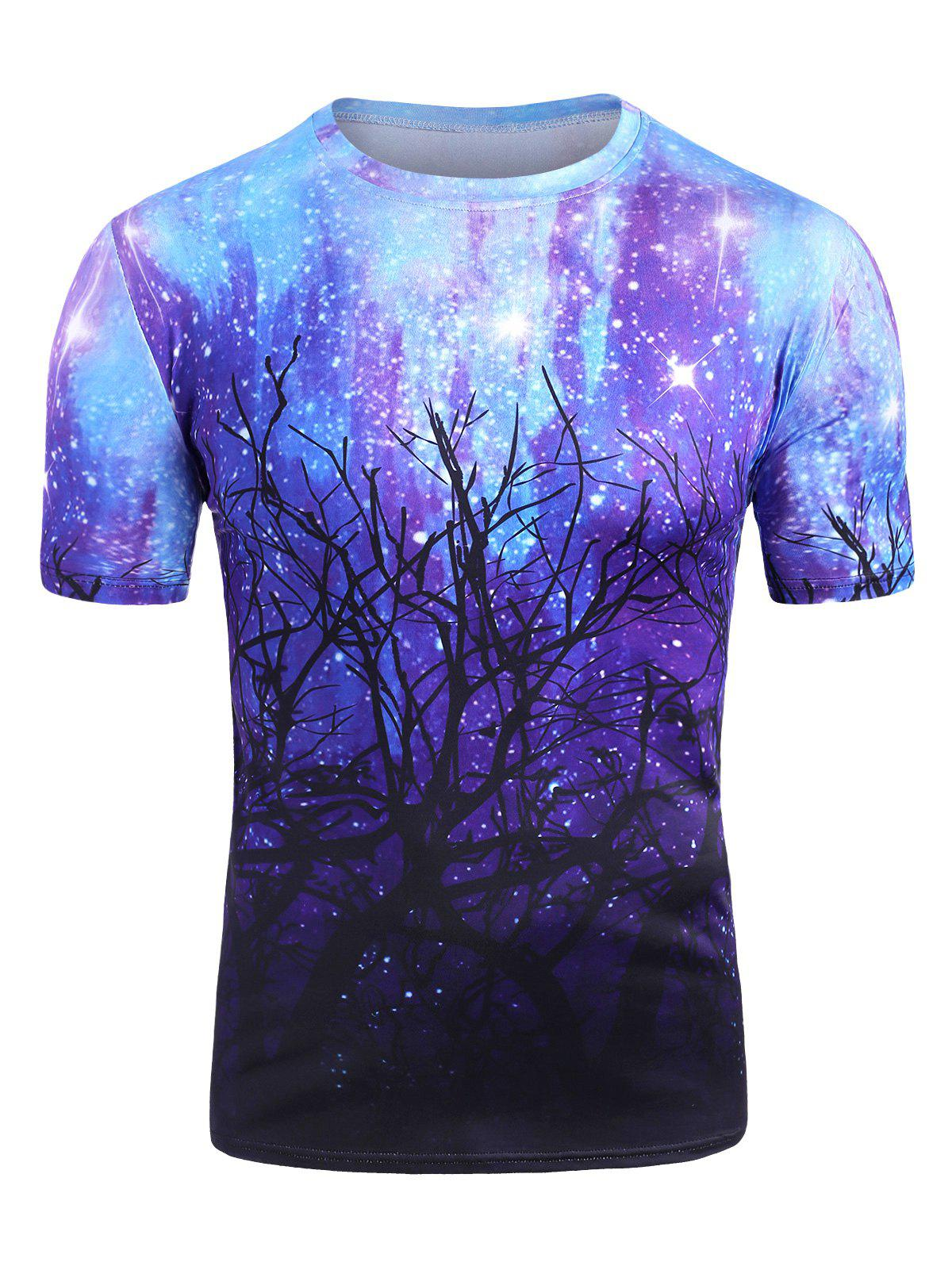Trendy Starry Forest Print Short Sleeve Casual T Shirt