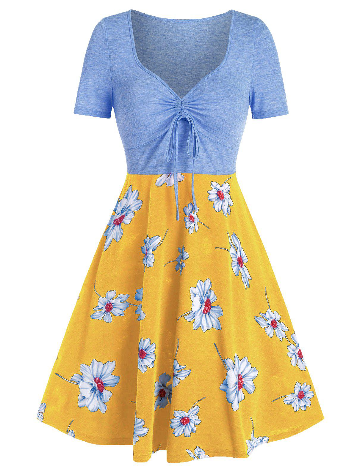 Sale Flower Print Drawstring Fit And Flare Dress