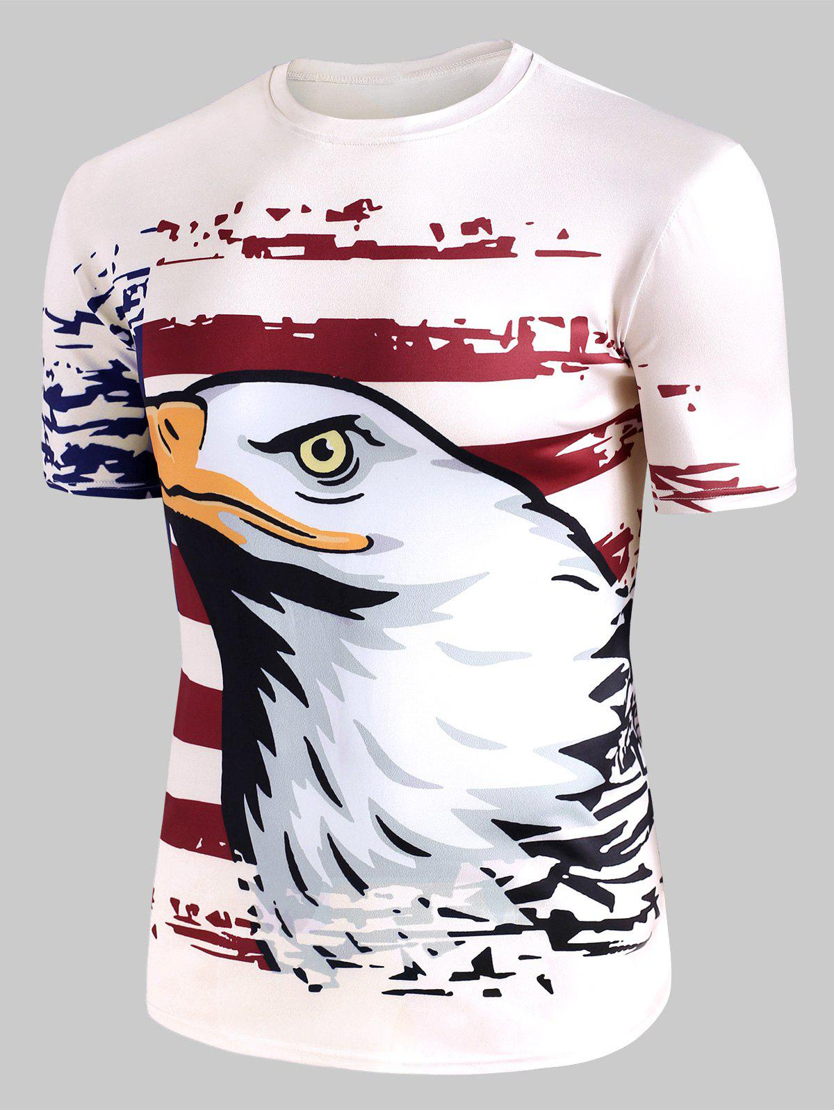 New Eagle American Flag Graphic Crew Neck Casual T Shirt