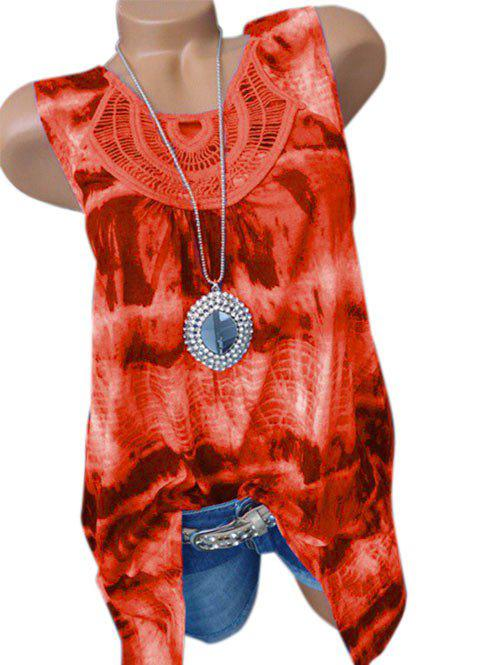 Chic Plus Size Tie Dye Lace Crochet Tank Top