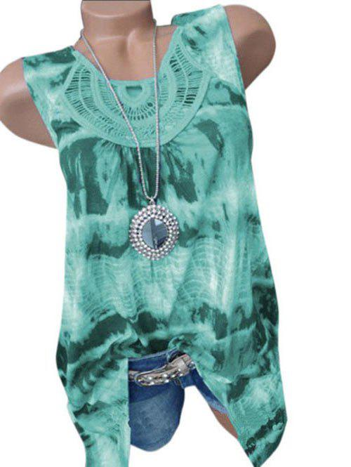 Trendy Plus Size Tie Dye Lace Crochet Tank Top