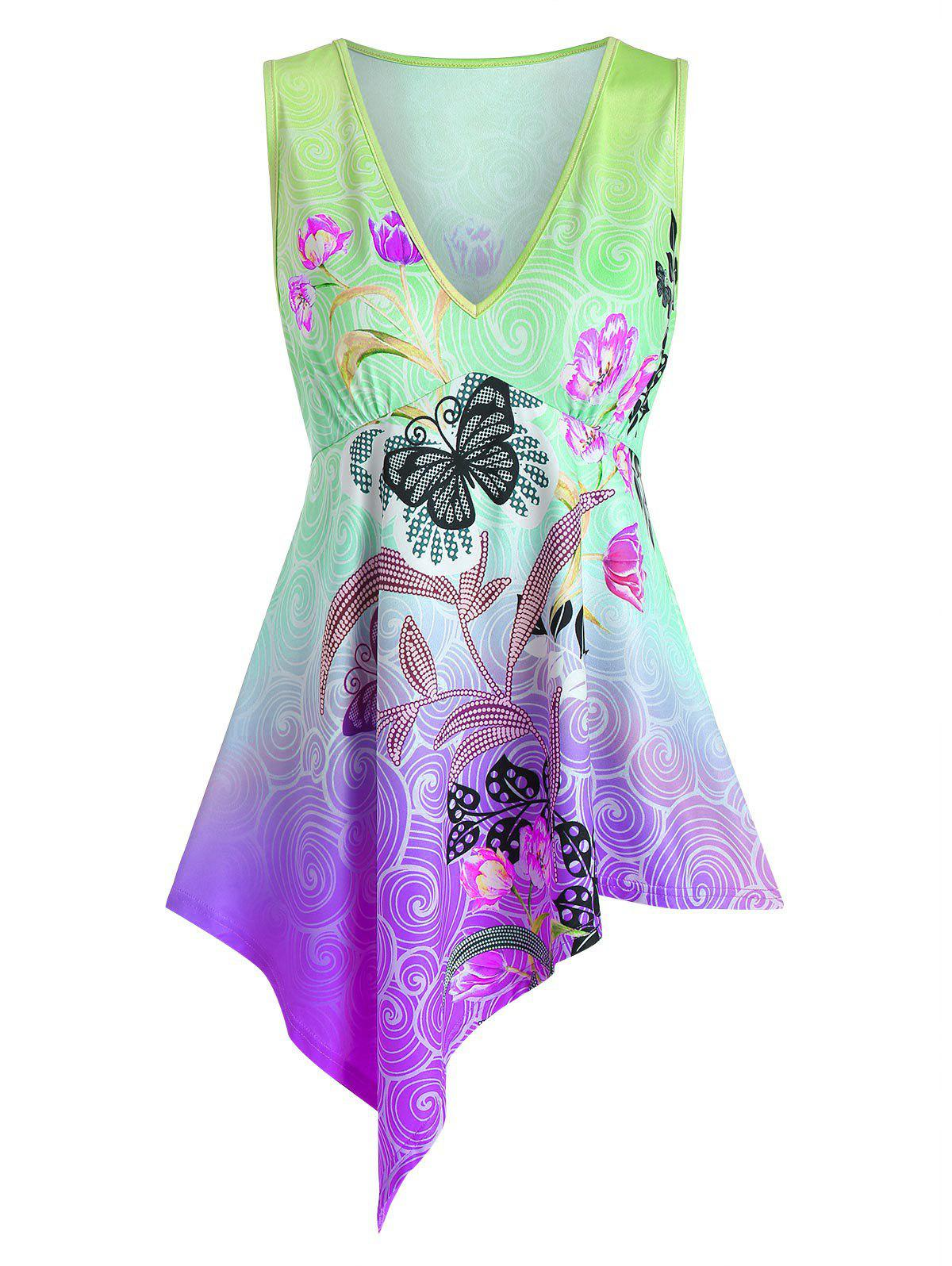 Best Butterfly and Flower Print Plunge Neck Asymmetric Tank Top