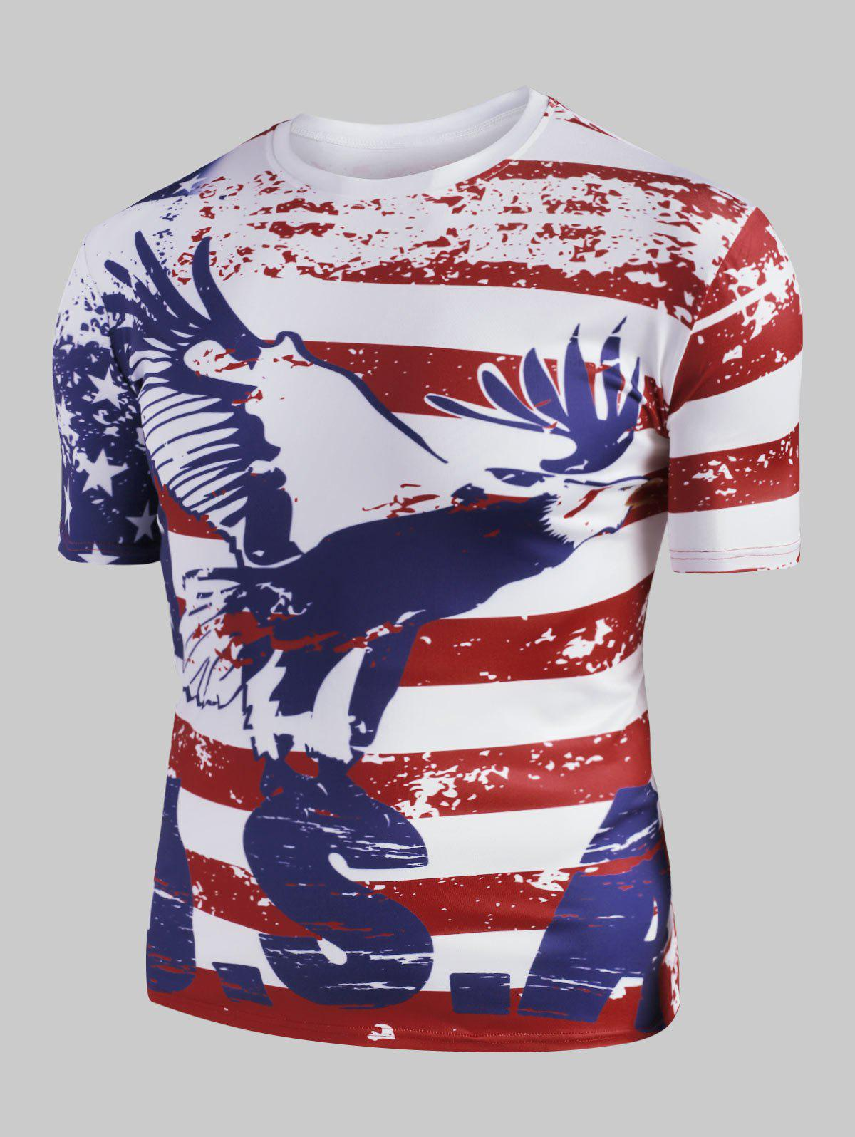 Chic Eagle American Flag Graphic Slim Fit Casual T Shirt