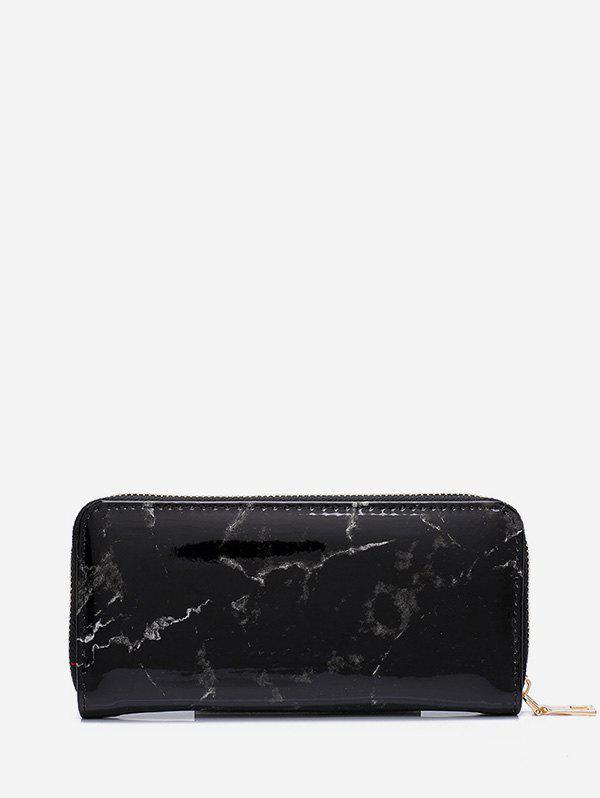 Marble Print Leather Long Clutch Wallet