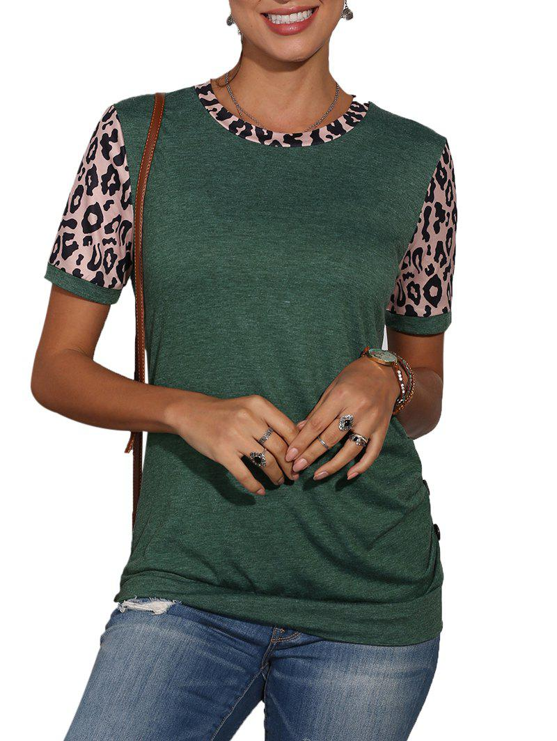 Buy Leopard Panel Buttons Blouson Top