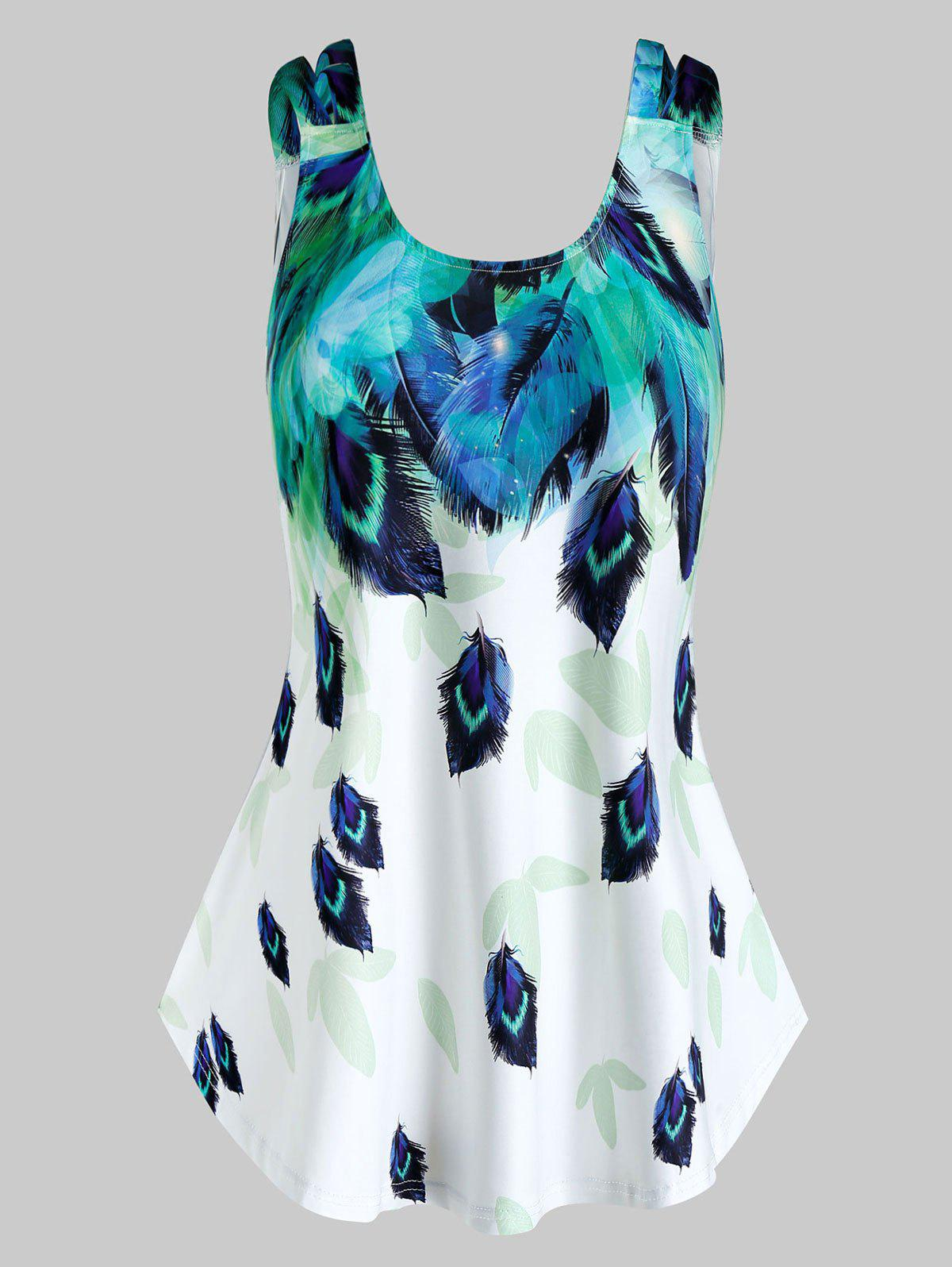 Affordable Plus Size Feather Print Tent Tank Top