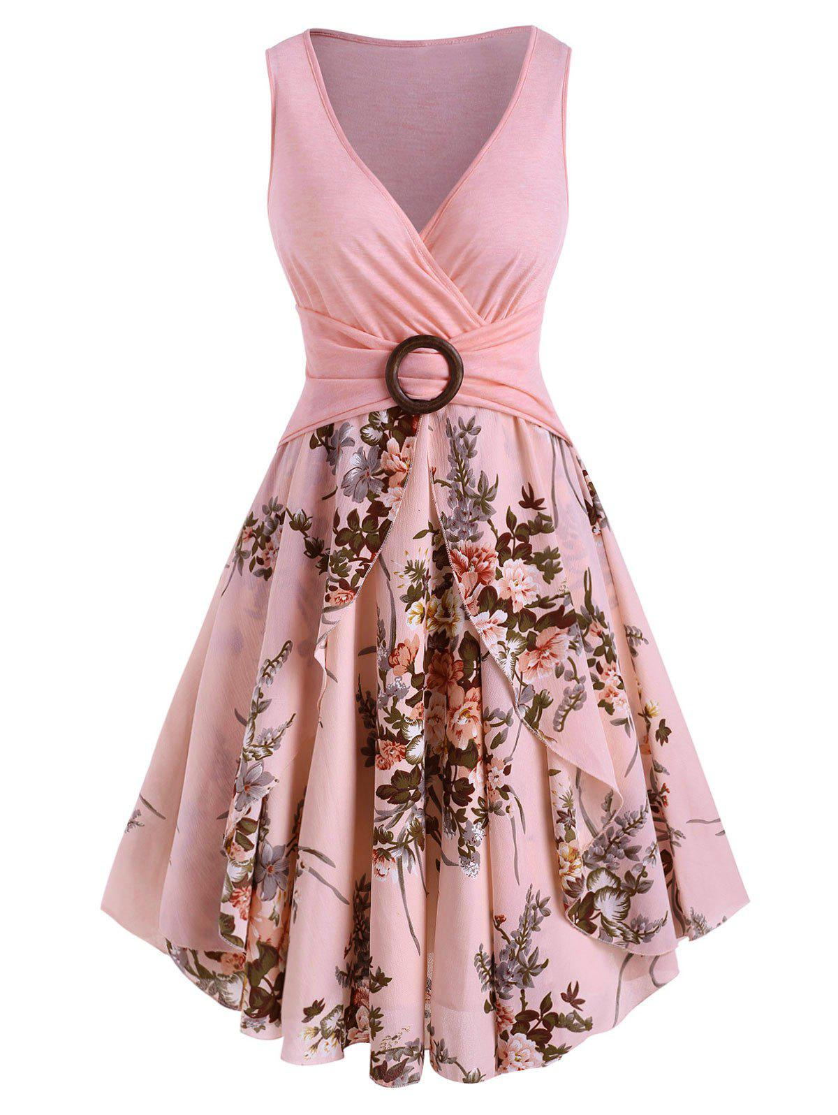 Online Floral Print O Ring Sleeveless Plunging Dress