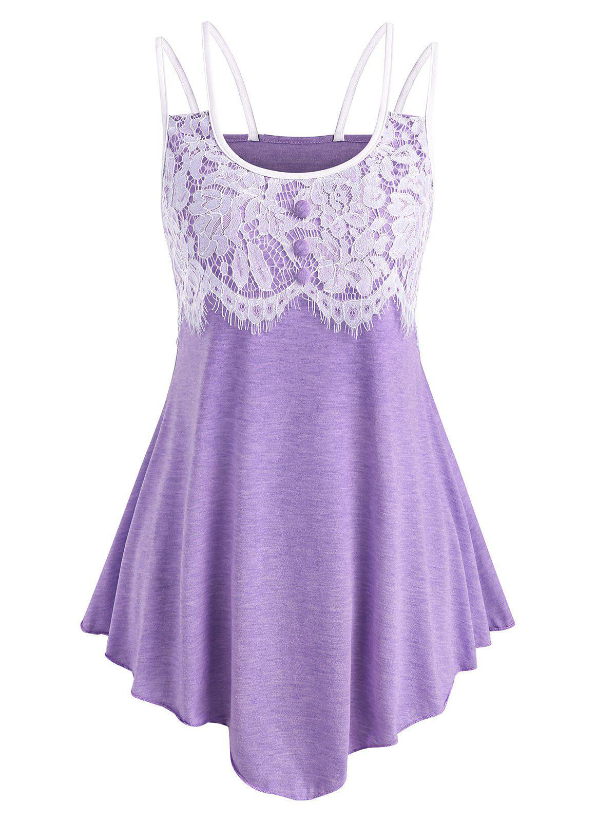 Buy Lace Panel Cami Asymmetrical Top