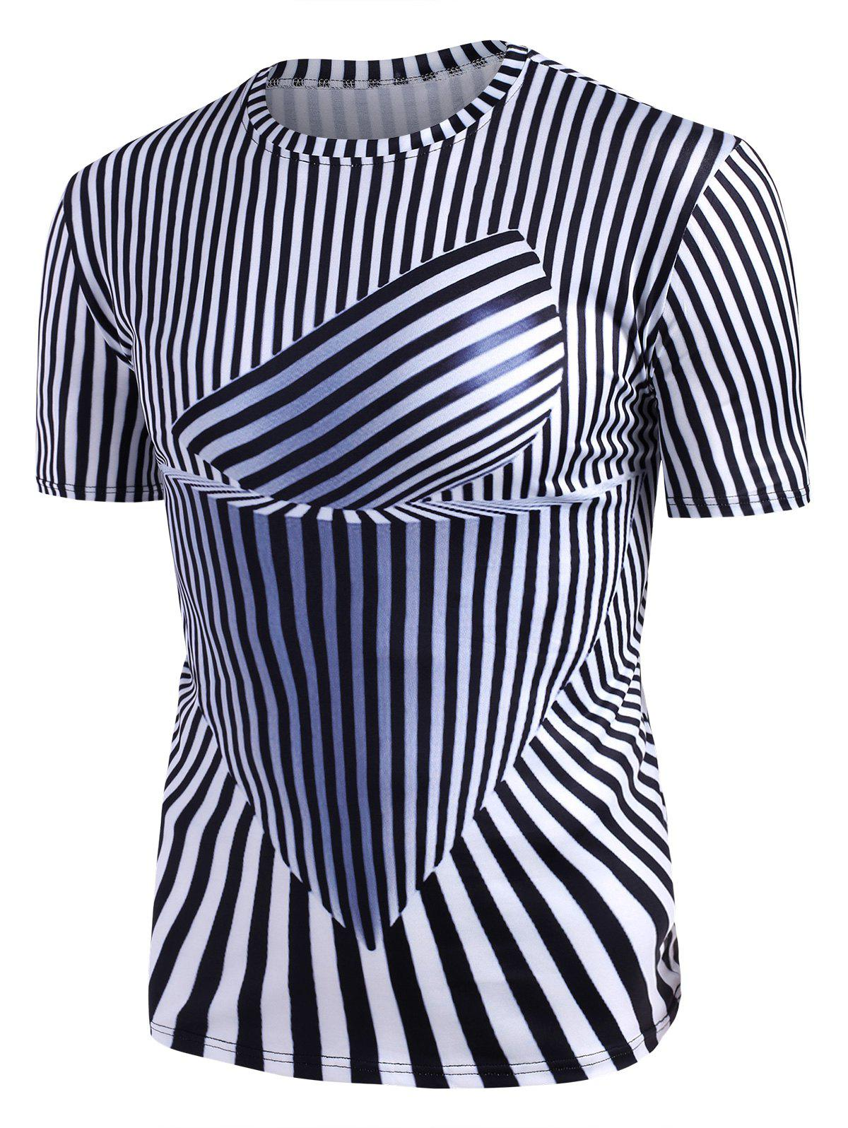 Buy Abstract Striped Graphic Crew Neck Short Sleeve T Shirt