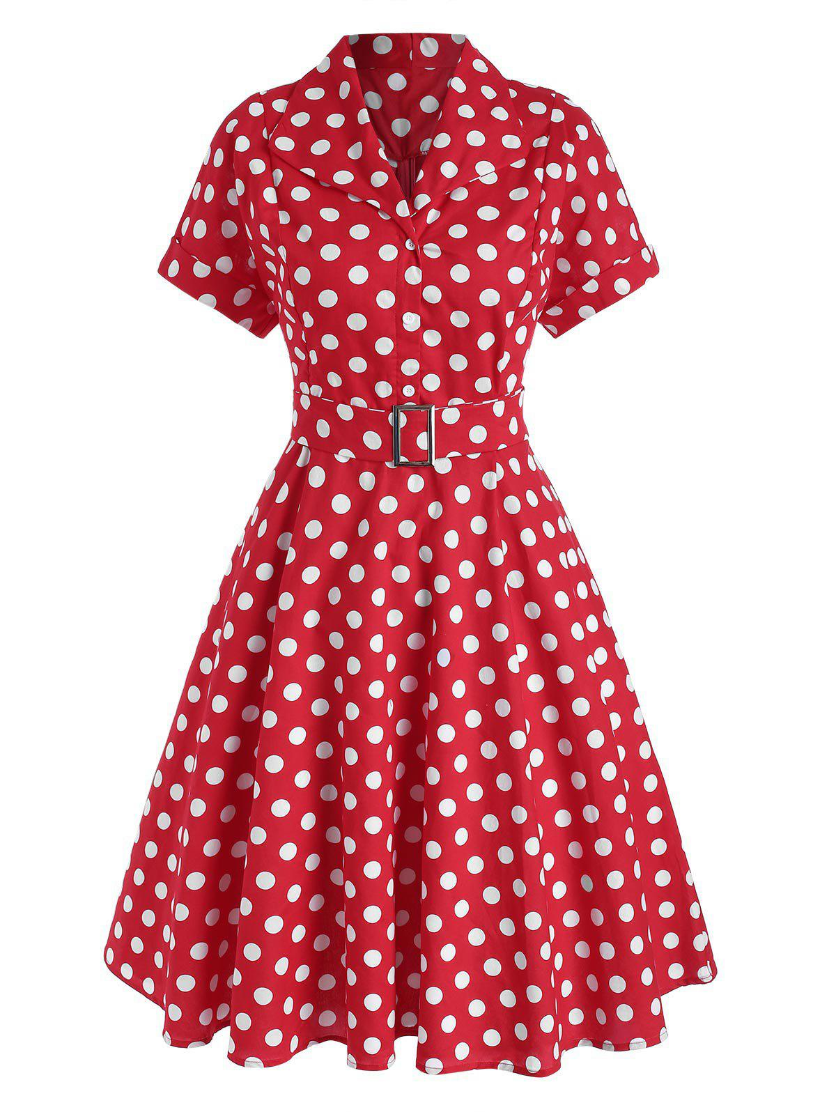 Store Polka Dot Belted Rolled Cuff Vintage Dress