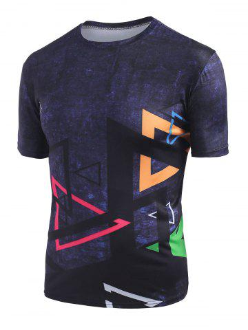 Triangle Print Crew Neck Short Sleeve Tee - BLACK - 3XL