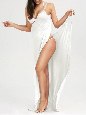 Solid Maxi Wrap Cover Up Dress - WHITE - S
