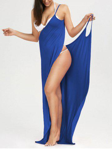 Solid Maxi Wrap Cover Up Dress - BLUE - S