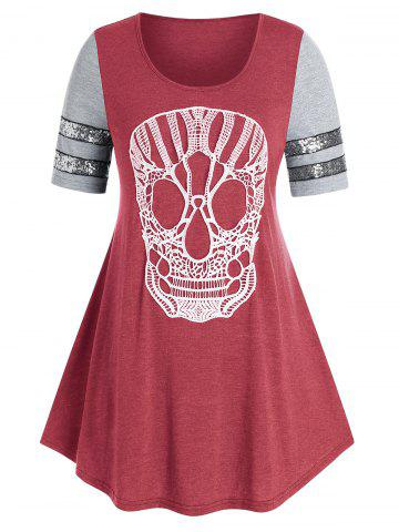 Plus Size Lace Skull Sequin Swing T Shirt - RED - 3X