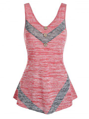 Mock Button Space Dye Print Contrast Tank Top - VALENTINE RED - M