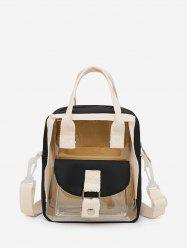 Colorblock Transparent Jelly Flap Pocket Mini Backpack -