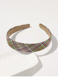 Preppy Style Plaid Printed Wide Hairband -