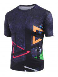 Triangle Print Crew Neck Short Sleeve Tee -