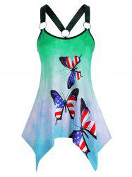 Plus Size American Flag Butterfly Tie Dye Handkerchief Ring Tank Top -