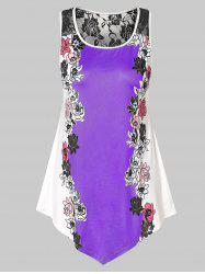 Plus Size Floral Tank Top with Lace -