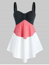 Plus Size Colorblock Ruched Tank Top -