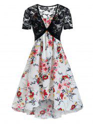 Floral Print Cami Tent Dress And Lace Crop Top Sets -