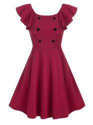 Pure Color Mock Button Butterfly Sleeve Mini Dress -