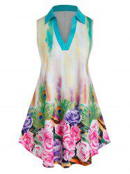 Plus Size Tie Dye Flower V Notch Curved Tank Top -