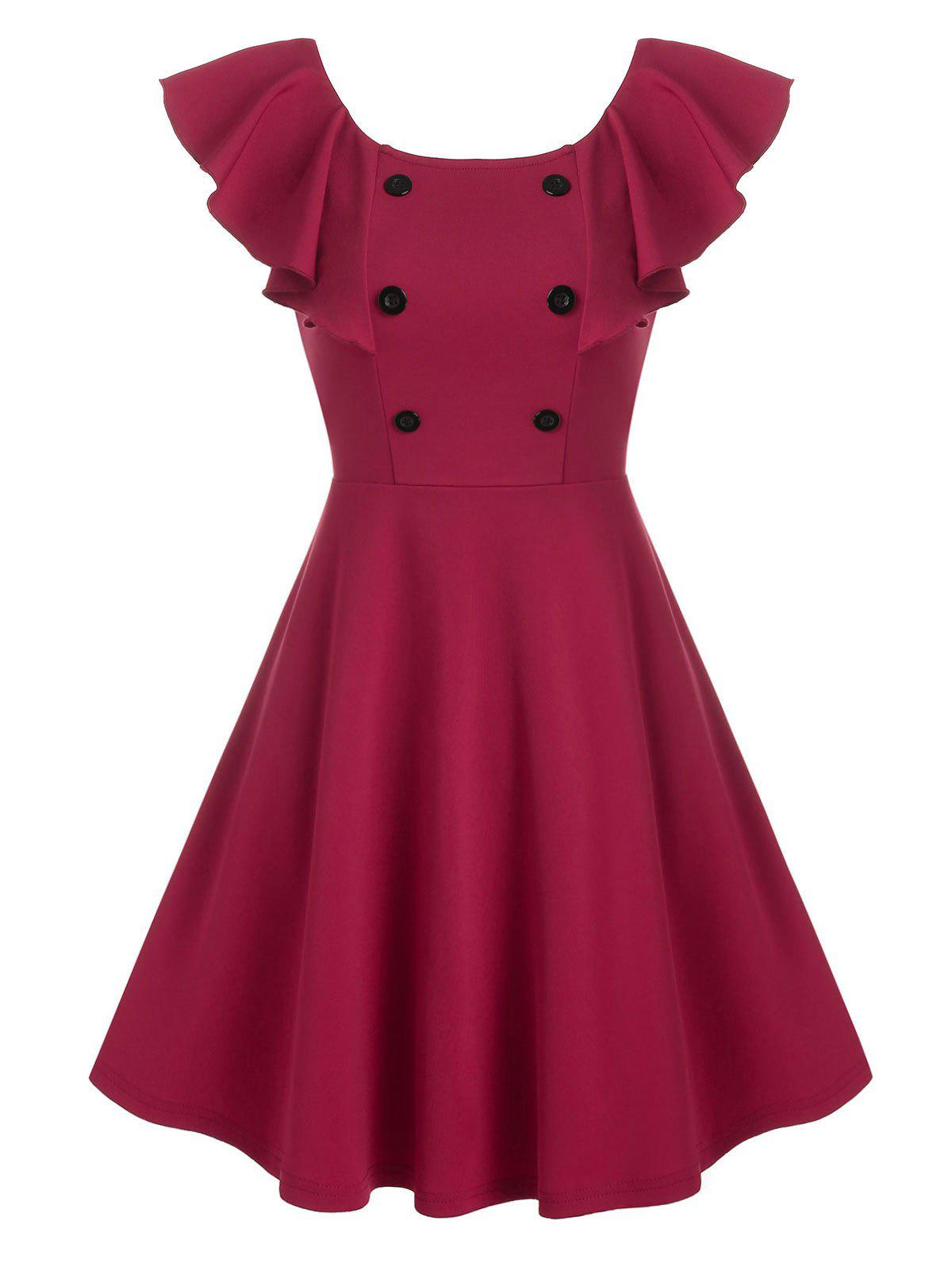Trendy Pure Color Mock Button Butterfly Sleeve Mini Dress