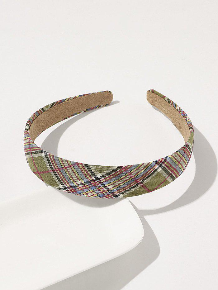 Store Preppy Style Plaid Printed Wide Hairband