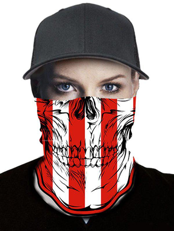Trendy Skull and Stripes Print Outdoor Riding Neck Gaiter Mask