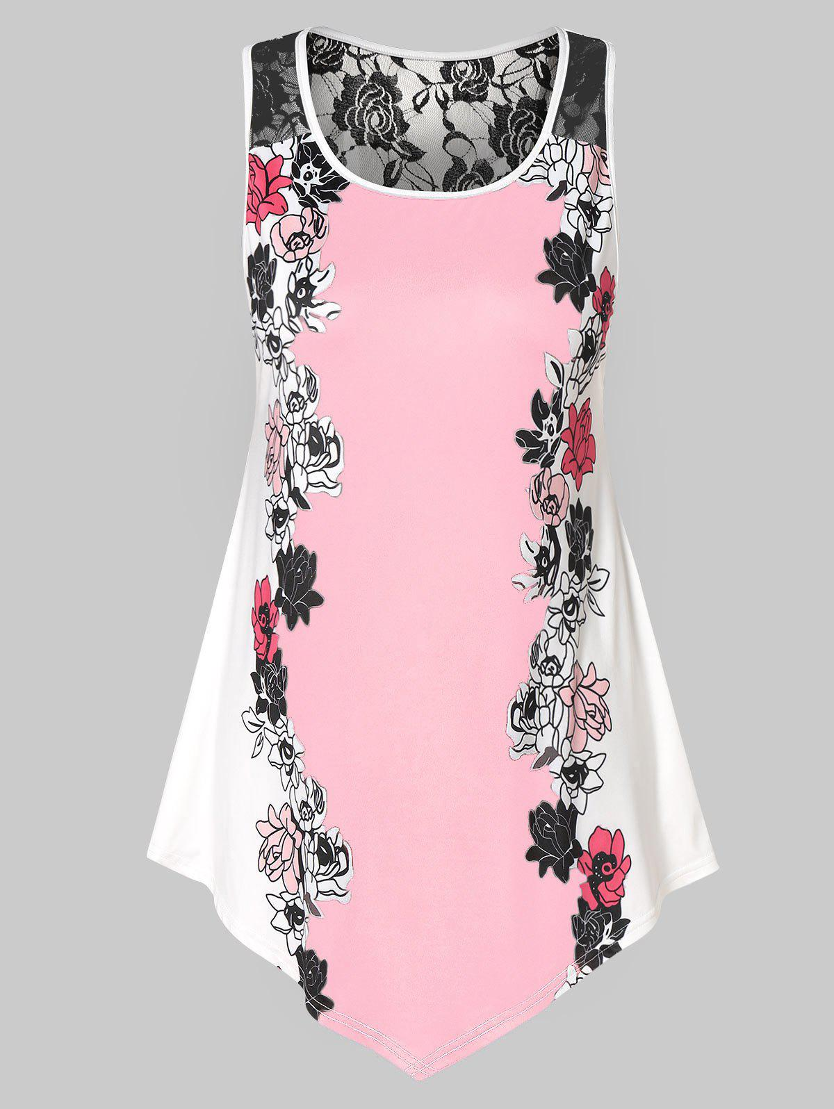 Latest Plus Size Floral Tank Top with Lace
