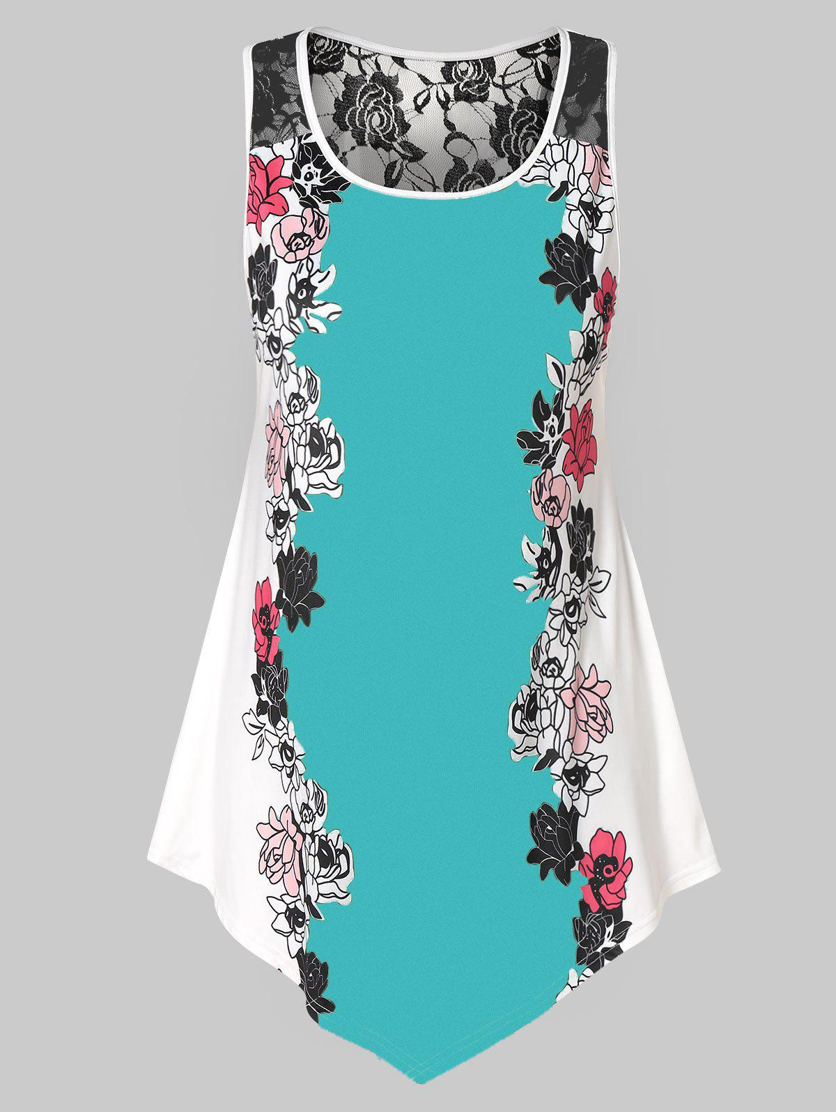 Store Plus Size Floral Tank Top with Lace