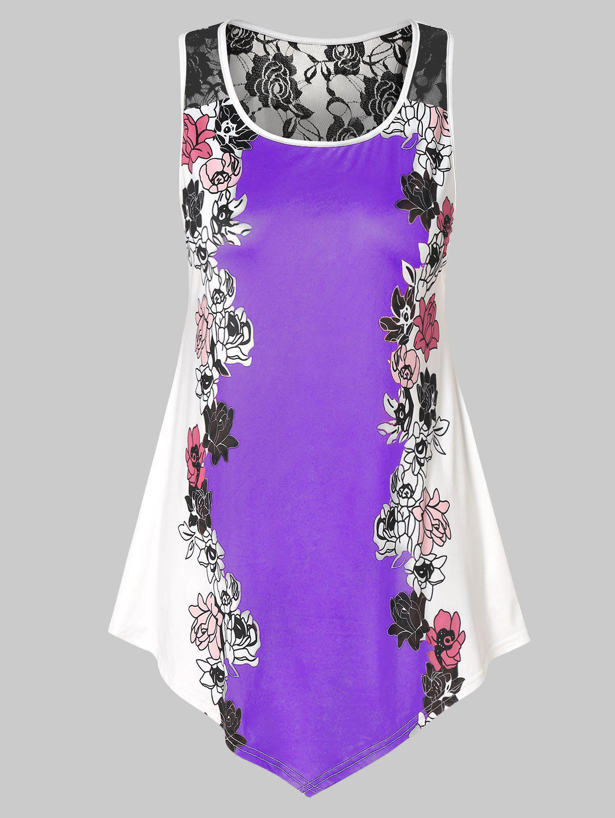 Sale Plus Size Floral Tank Top with Lace