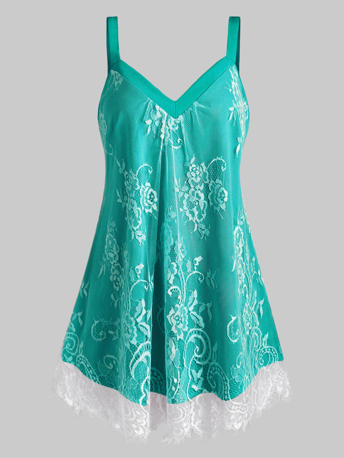 Outfit Plus Size Floral Lace Overlay Sweetheart Neck Tank Top