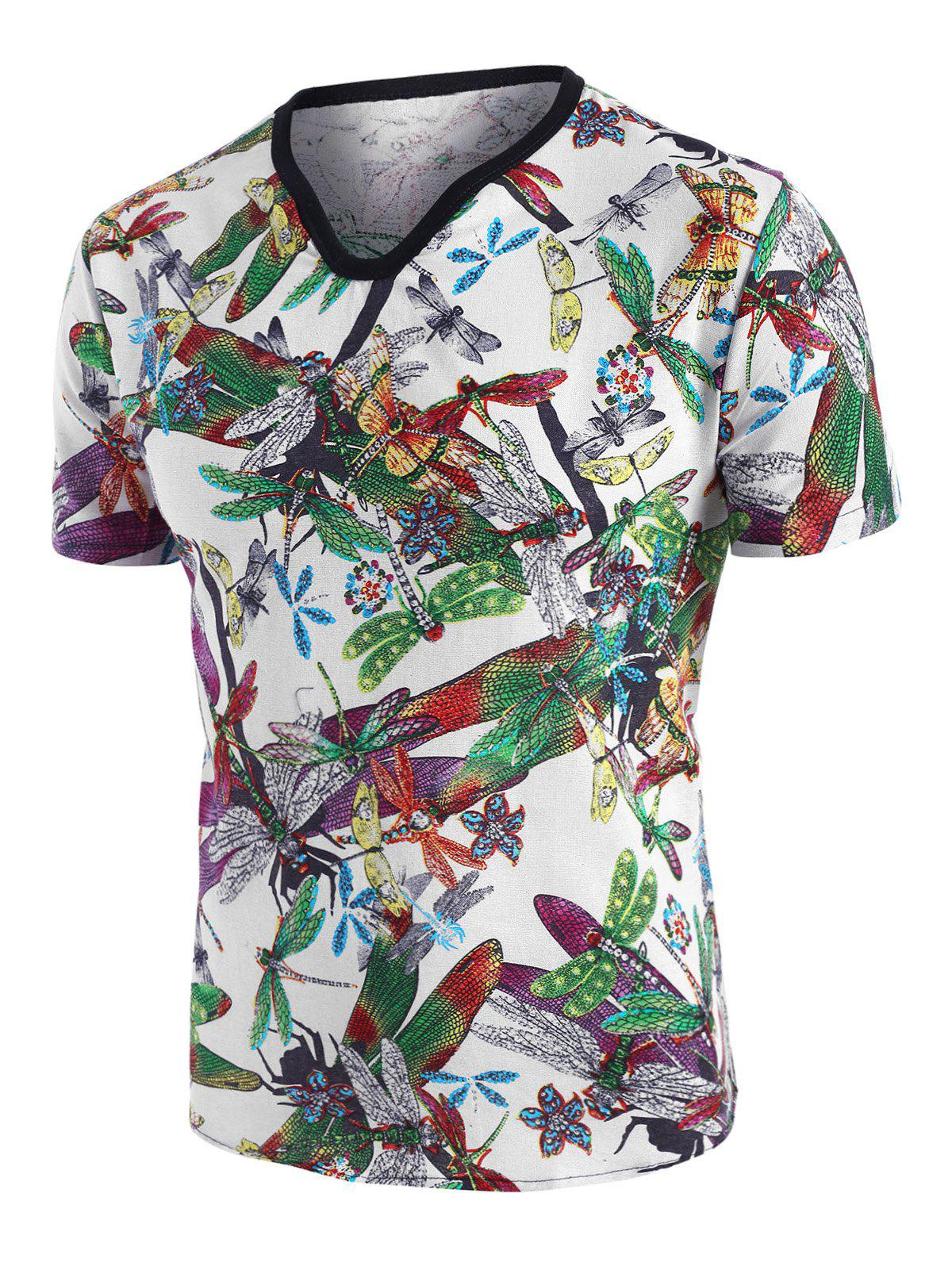 Store Dragonfly Print Ethnic Short Sleeve T Shirt