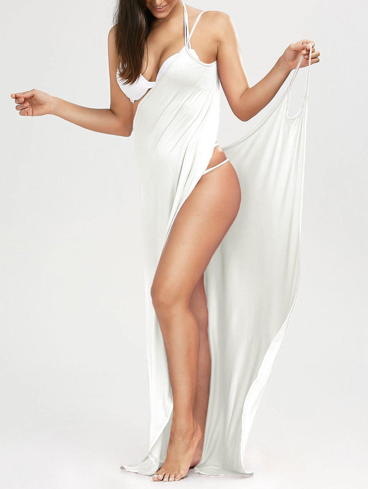 Hot Solid Maxi Wrap Cover Up Dress