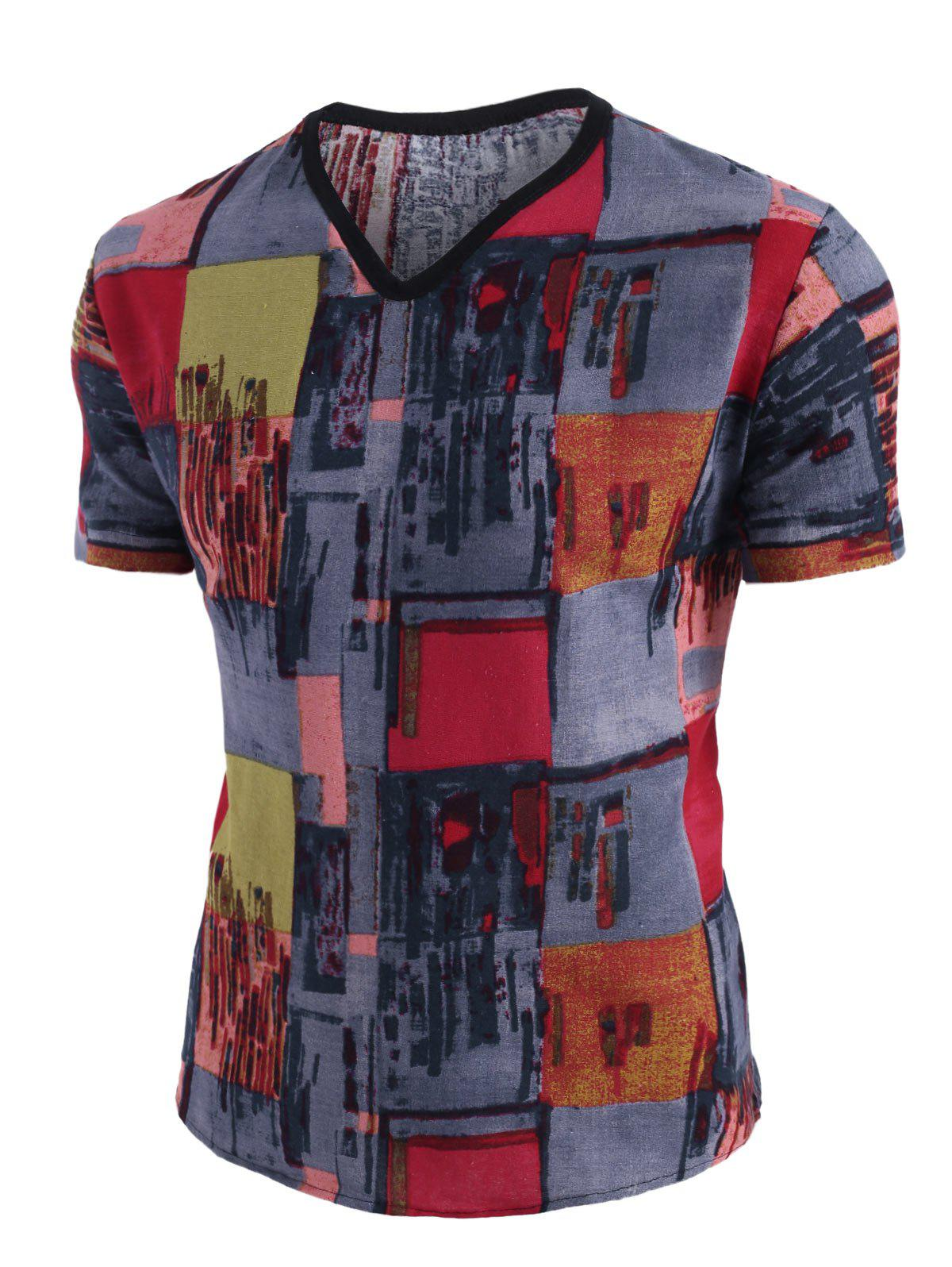 New Ethnic Pattern Block V Neck Short Sleeve T Shirt