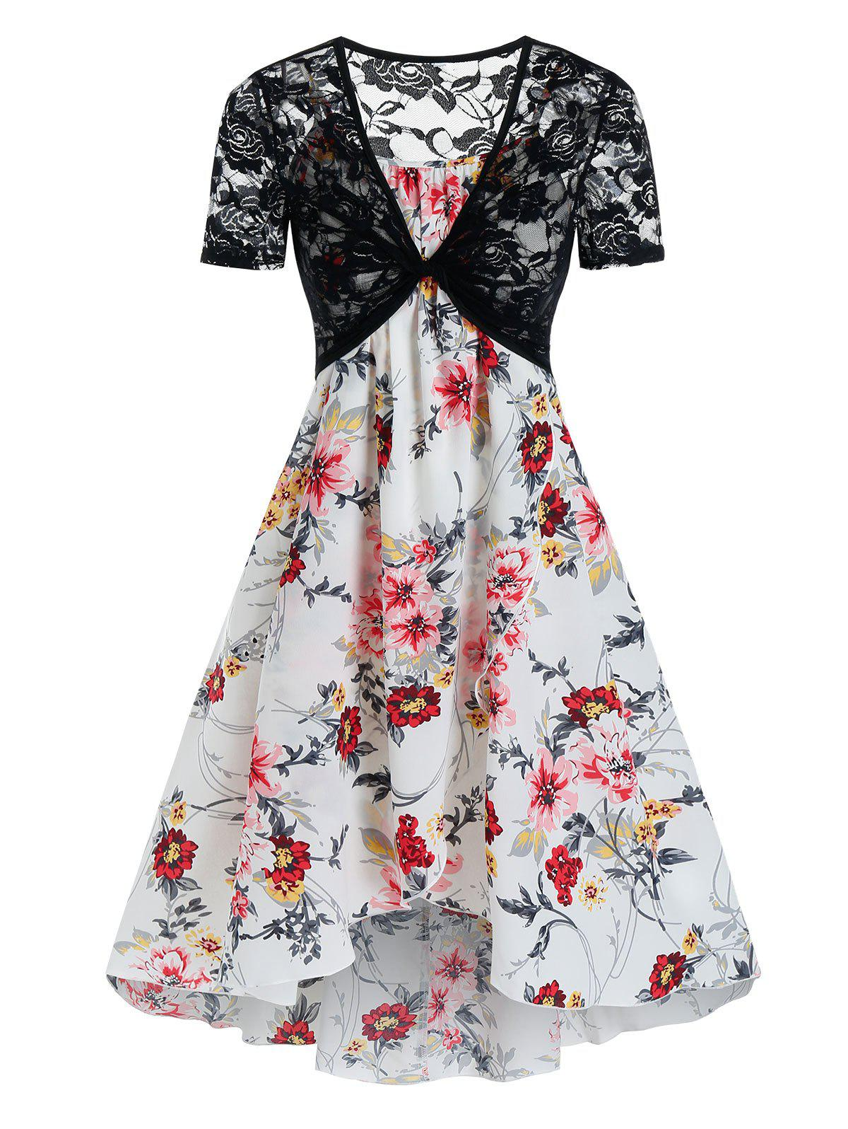 Affordable Floral Print Cami Tent Dress And Lace Crop Top Sets